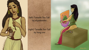 Tanselle Too-Tall by Eliyadoodles (left) & Hong-Ara (right)
