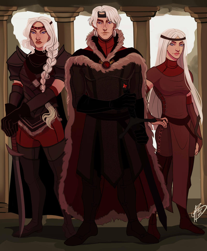 Visenya, Aegon, and Rhaenys by NaomiMakesArt
