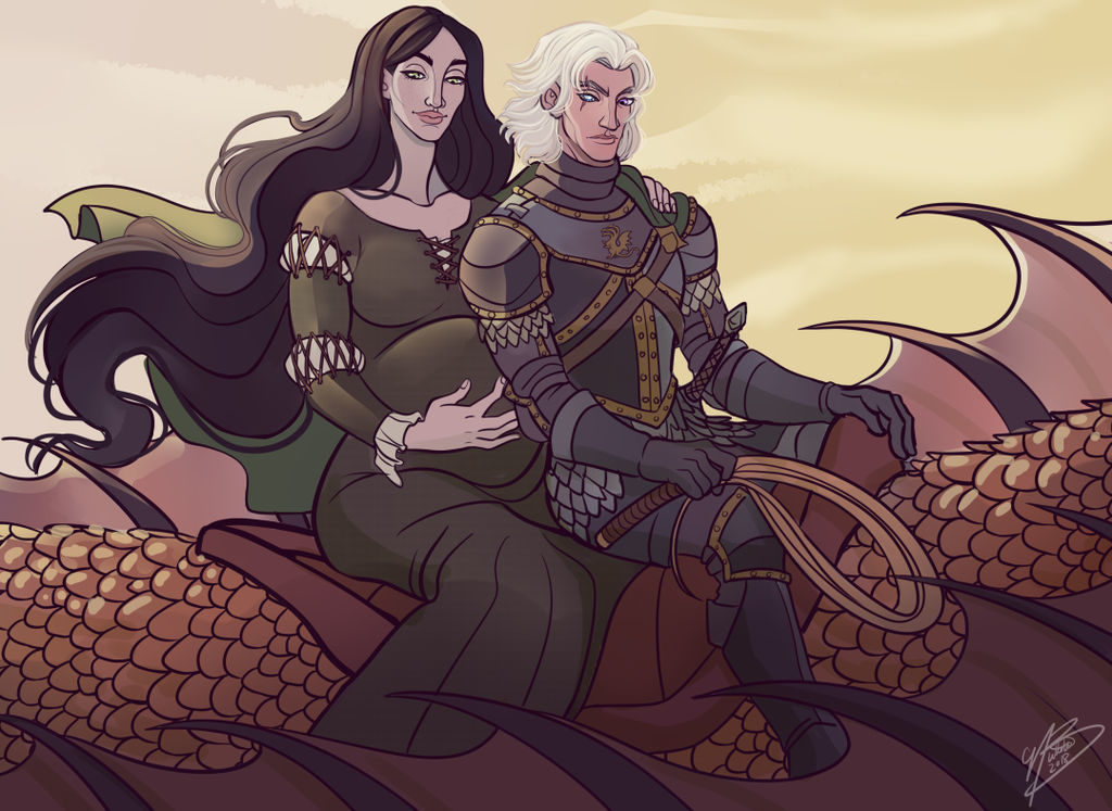 Dance of the Dragons - Alys Rivers and Aemond Targaryen by NaomiMakesArt