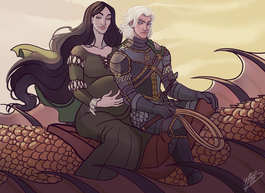Alys Rivers and Aemond Targaryen by NaomiMakesArt