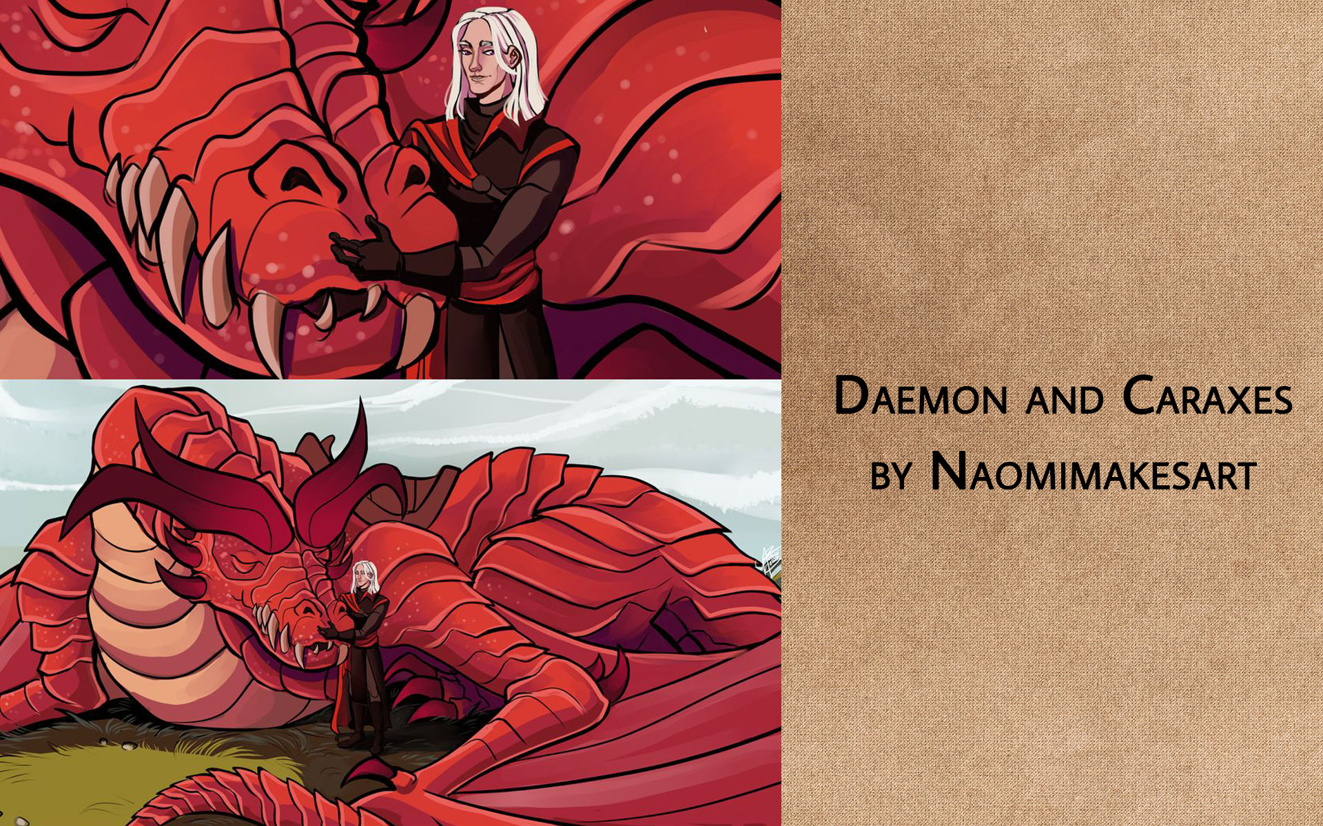 Daemon and Caraxes (naomimakesart)