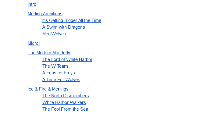 Manderly Table of Contents